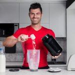 preparing protein shake